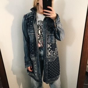 Free People Denim Bandana Print Shirt Dress